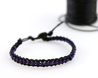 Dark purple beads bracelet Purple wooden bead wrap bracelet Purple bridesmaid bracelet Beaded boho bohemian leather bracelet Purple wedding