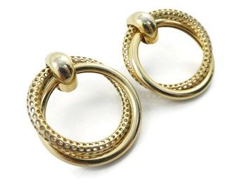 Vintage, Hoop Earrings, Posts, Gold Tone