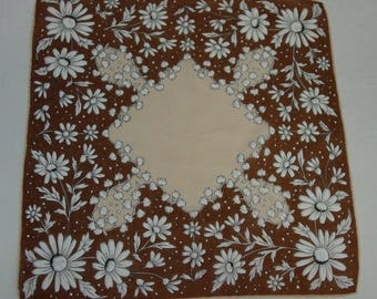 Vintage Hanky, Handkerchief Daisies, Lilies of the Valley Pretty Browns