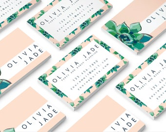 Cute business card etsy succulent business card floral business card modern business card cute reheart Choice Image