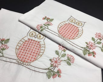 Hoot owls hand embroidered border pillowcase pair, standard size, cotton and polyester blend, white cases