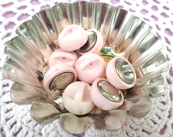 8 Pink and Metal Vintage Buttons Shank Buttons UNIQUE Buttons