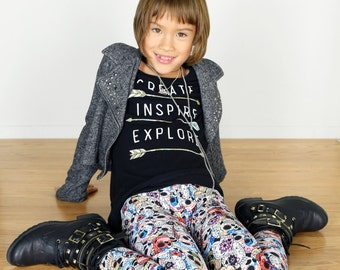 Girls/Kids Sugar Skull Printed Leggings for Riot Grrrls, Punk and Goth Kids