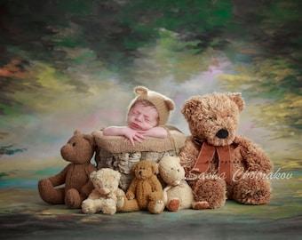 Digital background  boys or girls newborn teddy bears