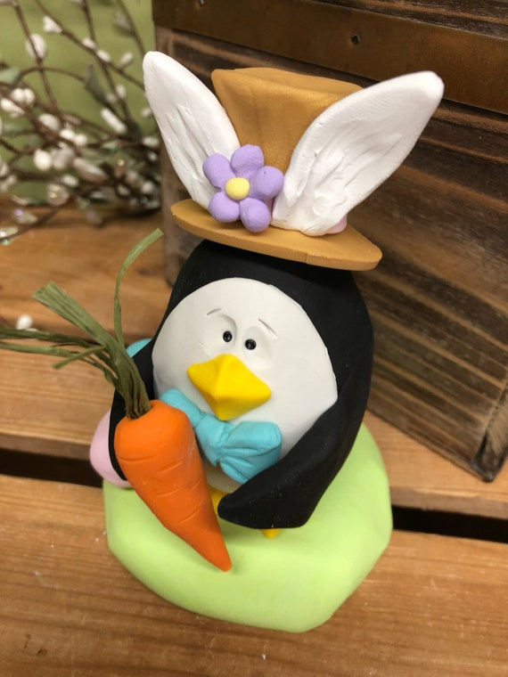 Easter penguin penguin sculpture gifts for him gift for easter penguin penguin sculpture gifts for him gift for her penguin dressed as rabbit easter easter gift penguin easter decoration negle Image collections