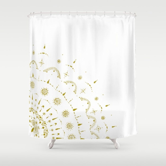 Gold & White Shower Curtain gold shower curtain white shower