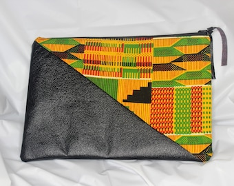 Kente and Leather Clutch