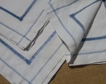 3 Victorian White Linen Napkins Blue Ladder Work Frech Handmade Kitchen Towel Dish Wrap Blue Seam #sophieladydeparis