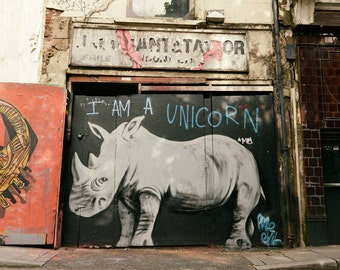 Graffiti Art, Street Art, Rhino Home Decor, Contemporary Wall Art, Urban Art, Fine Art Print, Teen Room Decor, Unicorn, Rhinoceros