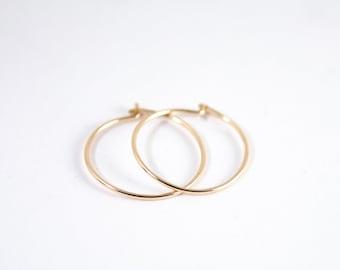 Thin Gold Hoops - Minimalist Earrings - 14k Gold Filled Hoop Earrings - Gift For Her - Sleeper Earrings