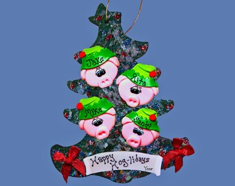 Pig Elf (4) ornament Personalized Family tree