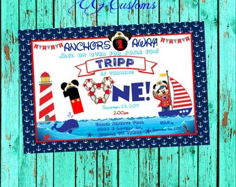 Nautical Mickey Invitation, Nautical Mickey Party, Nautical Party, Nautical Invitation, Nautical Invite, Mickey Mouse, Nautical, Nautical