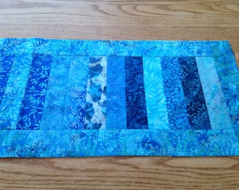 Turquoise and blue batik table runner