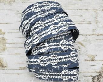 "7/8"" White Rope Knots on Navy Blue USDR grosgrain ribbon Nautical Ocean Sea Beach Boat Life"