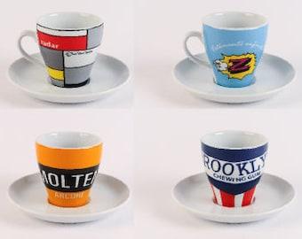 Retro Cycling Teams Cappuccino/Coffee Cup Set