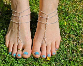Silver Chain Barefoot Sandals, Slave Anklet, foot thong, ankle bracelet with toe ring