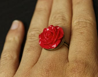 vintage red rose ring