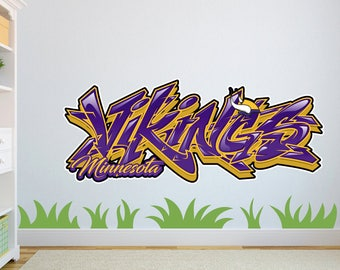 Minnesota Vikings Graffiti Custom Wall Decal