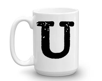 Initial Mug - Letter U - 15oz Ceramic Cup - Uncle Gift Mug - Right-Handed or Left-Handed Mug - Gift for Man