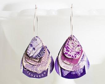 Teardrop earrings | Postage stamp | International | Purple | Layered Hoops