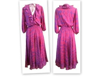 1980s Assorti for Susan Freis Poly Georgette Boho Vintage Dress