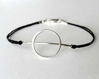 Geometric bracelet, Circle Moon bracelet, sterling and linen, Theta bracelet, ready to ship, Valentines gift, gift for woman, gift for her
