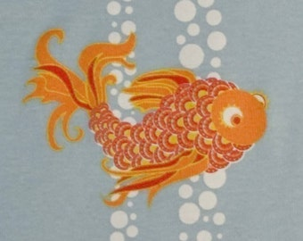 Long Sleeve Toddler T-shirt, Koi Fish and Bubbles design on Blue