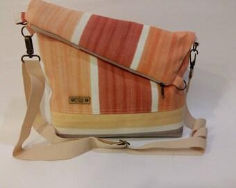Crossbody bag. Fold over bag. 3 tone canvas tote. Everyday ba. Womens spring bag, Summer bag. Vegan canvas  bag. Orange canvas bag