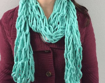 Handmade Arm Knitted Scarf TEAL