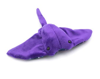 Purple Sparkle Galaxy Sting Ray Stuffed Animal Plush Toy, Plushie Cow Nose Ray - MADE TO ORDER