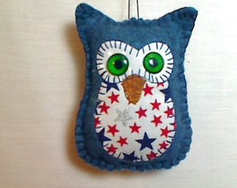 Small Americana Owl Ornament | Holidays | July 4th | Independence Day | Tree Ornament | Felt Ornament | Handmade | Red White & Blue |  #14