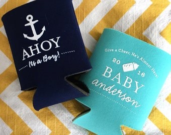 Ahoy Its a Boy baby shower can cooler, nautical baby shower favor, nautical anchor can coolie, Boy baby shower coosy, anchor theme shower