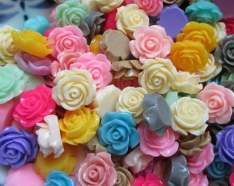 Clearance Sale **14mm Multi Color  Resin Roses Pkg. 20