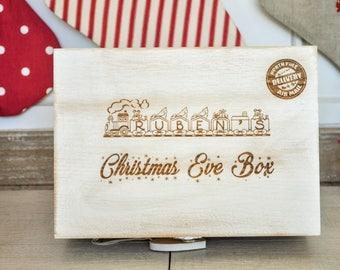 Personalised Christmas Eve Box/Train/Rustic White Box/Memory Box/Christmas Eve Idea/Christmas Tradition/Personalised Wooden Box/Memory Box
