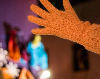 Alpaca Handknitted Gloves. Handmade Long Wool Gloves. Pastel Orange Women Gloves. Peach Winter Mittens. CIJ designed by dodofit on Etsy