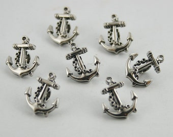 12 pcs. Silver Tone Vintage Anchor Buttons Shank Decorations Findings 13 mm. BT Anch HO