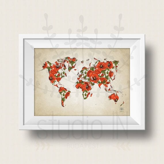 Wolrd map poster poppy flowers world map art large world map wolrd map poster poppy flowers world map art large world map print printable world map instant download color map wall art digital gumiabroncs Gallery
