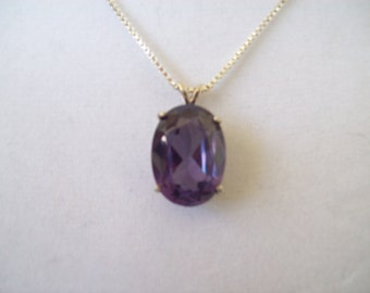 Alexandrite Pendant in Sterling Silver 20x15 mm with chain