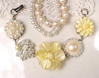 Yellow Pearl & Crystal Rhinestone Silver Bridal or Bridesmaids Bracelet, OOAK Vintage Cluster Earring Bracelet Wedding Gift Charm Button