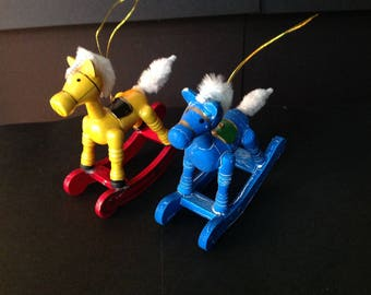 Vintage Wood Rocking Horse Ornaments with Pipe Cleaner Tails Set of 2