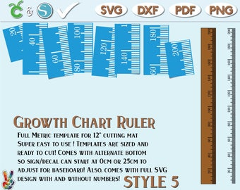 Growth Chart Ruler Stencil File Metric Imperial - SvG - DxF - PdF | DIY growth chart ruler sign | Growth Chart Ruler wall decal SVG