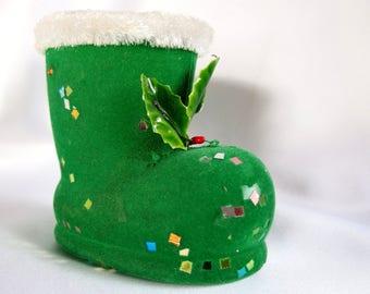 Flocked Santa Boot, Vintage Green Candy Holder or Christmas Decoration