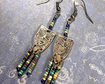 Etched Brass Earrings, Art Deco Owl Earrings with Dangles - Free Domestic Shipping