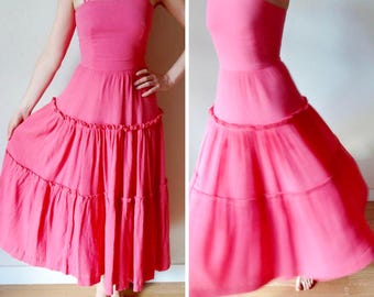 Pink Vintage Party Dress   SALE   Full Skirt Evening Dress   Pretty In Pink Dress   Vintage Summer Dress   Size Small UK8 US4