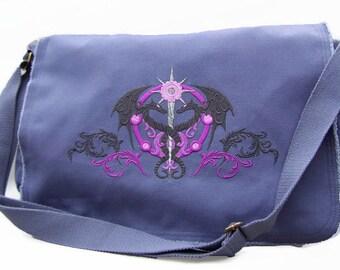 Amazing embroidered Caduceus messenger bag