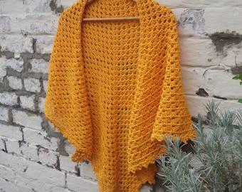 Crochet Pattern - Goldfinch Shawl - Scarf Pure Cotton DK PDF