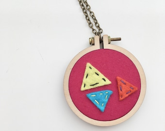 SALE - Magenta Geometric Hoop Necklace