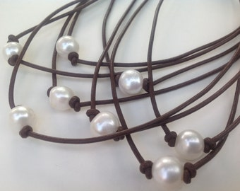 Leather Choker, Pearl Necklace, White Freshwater pearl, Boho, Surfer necklace, June Birthday, BROWN Leather Pearl necklace