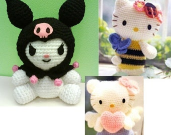 Amigurumi Bumble bee Angel Hello Kitty My Melody Kuromi Crochet Pattern PDF