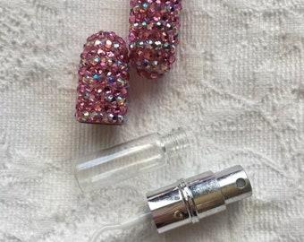 Swarovski Crystal Perfume Atomizer Pink Travel Size